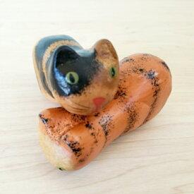 【アジアン】じゃれっこネコ バリ猫 アジアンインテリア 猫の置物 バリ木彫り ねこ