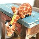 バリ木彫り水を飲むきりん中アジアンインテリアバリ雑貨置物木製インテリアキリン麒麟