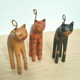 バリねこ 猫の置物 バリ木彫り アジアンインテリア 木製の猫 3匹セット