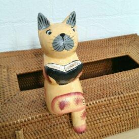 バリ木彫り ねこ お座り猫 アジアン 猫の置物 木製置物 ネコ バリ猫