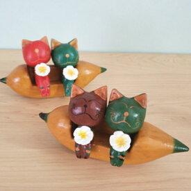 バリ雑貨 バナナボード ねこ 猫の置物 バナナ アジアンインテリア エスニック 木彫り バリ木彫り