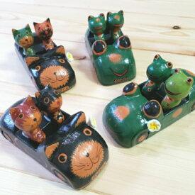 【バリ雑貨】アニマルカート カップルアニマル ねこ カエル アジアンインテリア エスニック ねこの置物 バリ木彫り 猫