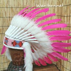 ウォーボンネット【 羽根かんむり 】wn-5 ピンク 2種類あり ネイティブ インディアン 帽子・コスプレ 羽根飾り