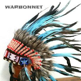 ウォーボンネット【 羽根かんむり 】wn-8  ブルーブラック ネイティブ インディアン 羽根冠 羽根飾り 帽子・コスプレ