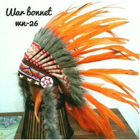 ウォーボンネット【 羽根かんむり 】wn-26 オレンジ ネイティブ インディアン 帽子・コスプレ 羽根飾り パーティー