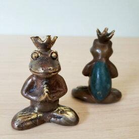 ブロンズ像 銅像 カエル 王冠カエル 合掌蛙 アジアンインテリア バリ雑貨 ブロンズ置物