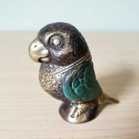 アジアン 小鳥 S 真鍮 アンティーク ブロンズ像 バリ雑貨 置物 インテリア 酉年