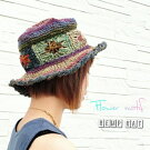 帽子フラワーモチーフヘンプ麻ハットアジアンエスニック日除けグッズヘンプ帽アジアン雑貨