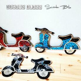 モザイクガラス スクーター バイク 壁掛け レリーフ バリ雑貨 アジアンインテリア カットガラス