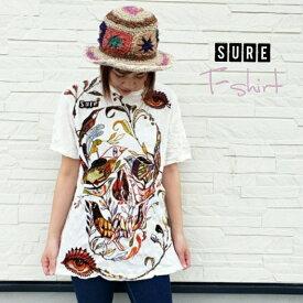 Tシャツ Sure No81 スカル M・L・XLサイズ 男女兼用 クリンクル加工 アジアントップス ホワイトTシャツ ドクロ 骸骨 プリントTシャツ エスニック