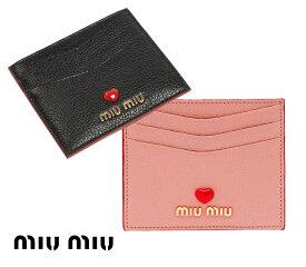 【2021年春夏モデル】MiuMiu(ミュウミュウ)マドラスラブ カードケース 名刺入れ パスケース レザーカードホルダー Madras Love leather card holder NERO ORCHIDEA ブラック ピンク【あす楽対応_関東】