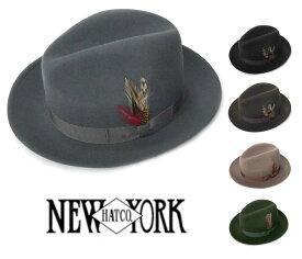 ニューヨークハット(New York Hat)5319 THE FEDORA/リボン&フェザー付き中折れウールハット【あす楽対応_関東】