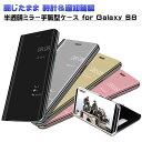 スマホケース Galaxy S8 半透明ミラー手帳型ケース 閉じたまま時計 通知確認可能 鏡面 スタンド機能 スマホカバー SC-02J SCV36 GalaxyS8