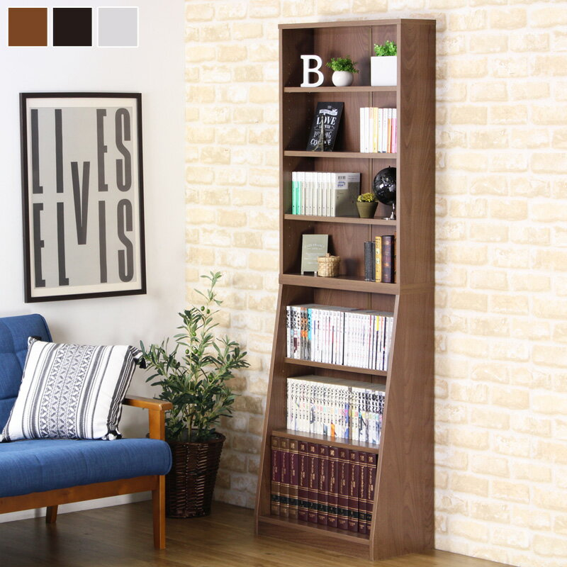 SOHO書棚 本棚 オープンラック 幅60cm 奥行30cm 高さ180cm 大容量 収納 移動棚 上下分割 積み重ね 木製 ホワイト ダークブラウン ウォールナット 31121 ordy