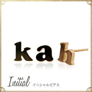 あす楽 K18ゴールド「イニシャル」ピアス★※1コ(片耳)売りです。18k 18金 プレート アルファベット オレフィーチェ