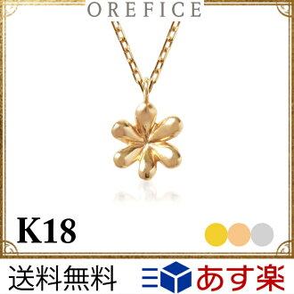 """K18黄金""""護身符·花""""吊墜★18k 18錢護符項鏈花鏈子紅豆女士黄金我費Che"""