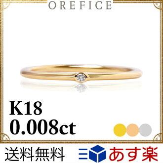 """K18黄金×鑽石""""jiema""""環戒指0.008ct大音階第四音LAN二人氣18k 18錢小指小指極細的我費Che"""