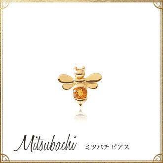 """K18黄金×西特林""""蜜蜂""""無環耳環(一個耳朵用)★hachi B蜂人氣動機禮物禮物我費Che"""