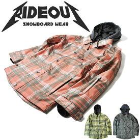 ◆。送料無料。◆rideout(ライドアウト) 12-13モデル brave jacket / ブレイブジャケット / RSW2712チェック総柄◆スキー スノボ用 ユニセックス(男女兼用) ジャケット
