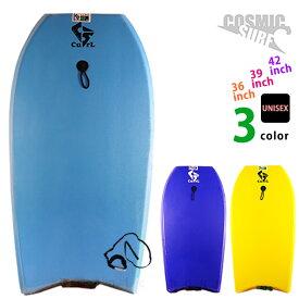 メンズ レディース ボディボード 2点 セット 36インチ 39インチ 42インチ COSMIC SURF コスミックサーフ ボディーボード リーシュコード CURL 黄色 青 水色 黒
