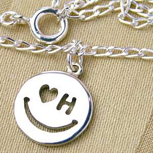 スマイルアンクレット【メール便送料無料】 2文字で作る世界にひとつ 手作りオーダー♪ 幸福な笑顔のアンクレット【楽ギフ_包装】レディース メンズ【名入れ】