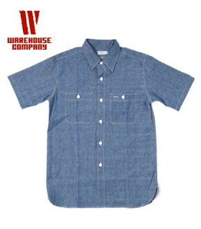 "WAREHOUSE服装房屋短袖|burushamburetoripurusutetchi|工作衬衫""CHAMBRAY WORK SHIRT""3080(Short sleeve shirt)"