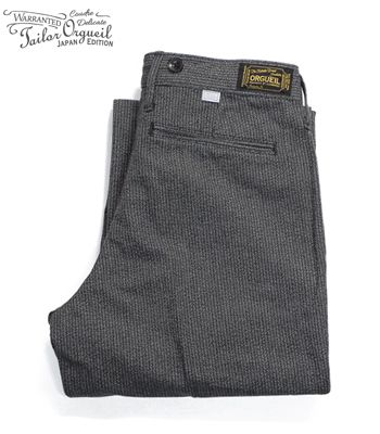 ORGUEIL オルゲイユ 撚り杢|コットンコバート|サスペンダーボタン|トラウザー『Covert Stripe Workers Trousers』【アメカジ・ワーク】OR-1030L(Other pants)