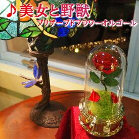 【美女と野獣 プリザーブドフラワーオルゴール】オルゴール プレゼント ギフト お返し 記念日 贈り物 誕生日 クリスマス 結婚祝い プロポーズ ホワイトデー 母の日 ディズニー 美女と野獣 プリンセス 花 プリザーブドフラワー バラ かわいい