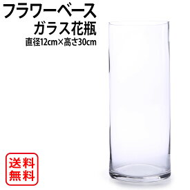 花瓶 ガラス おしゃれ 北欧 大きい 大きめ 透明 直径12cm 高さ30cm 大型 円柱 丸 フラワーベース 北欧インテリア 花器 大きい 花びん vase 硝子 花入れ アレンジ クリアー シンプル フラワーグラス インテリア ガラスベース