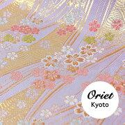 金襴青海波に小桜うすフジ紫