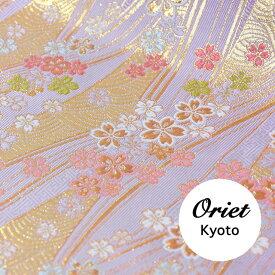 金襴 布 青海波に小桜 うすフジ紫
