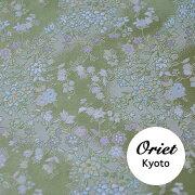 金襴和柄生地・流水に小花ヒワグリーン