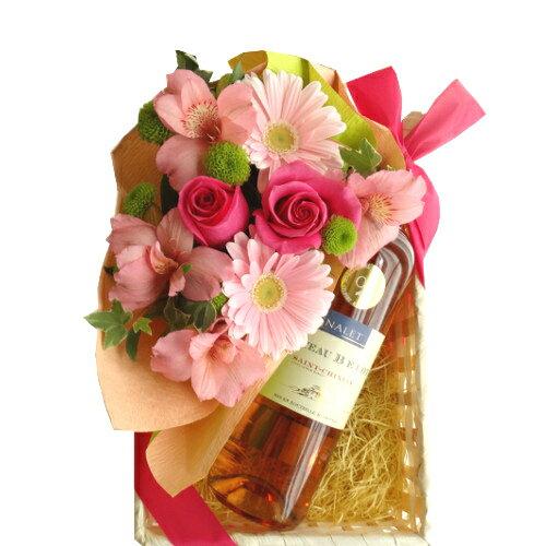 ロゼワインとお花のギフト 南フランス ラングドック・ルーション ロゼワイン フレッシュなピンク色のフラワーアレンジメント