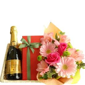誕生日プレゼント バラのアレンジメント チョコレートケーキ いちじくとカシス風味 フランス スパークリングワイン 375ml 女性 30代 40代 50代 お祝い お礼 プレゼント