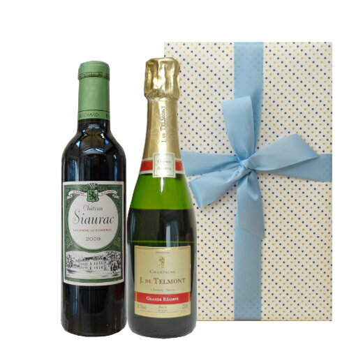 贈り物に! ハーフサイズのフランスワイン2本セット 2009年のボルドー赤ワイン 辛口の高級シャンパン 375ml×2本