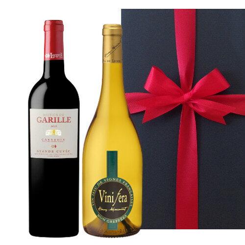 あす楽 送料無料 赤白フランスワイン 2本詰め合わせ ワインギフト ラングドック・ルーション 赤ワイン ローヌ地方 白ワインギフト 箱入り お届け日時指定可能