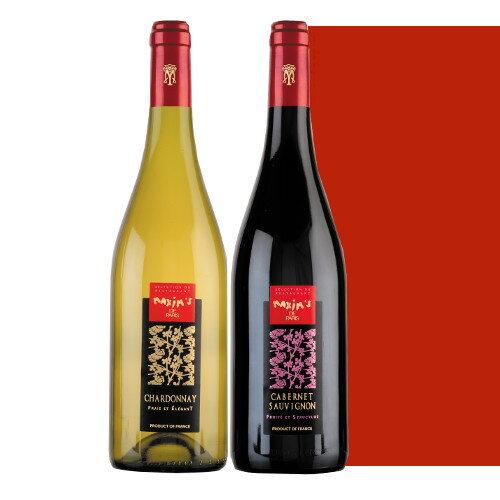 フランスワインセット 高級ブランド マキシム・ド・パリ 紅白ワイン 赤ワイン カベルネ・ソーヴィニヨン 白ワイン シャルドネ 750ml×2本 ギフト箱入り 飲み比べ