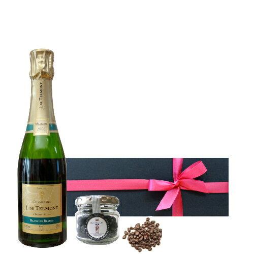 シャンパンとスイーツギフト フランス ハーフボトル シャンパーニュとチョコレート シャルドネ ジャック・ド・テルモン ブラン・ド・ブラン 375ml MOFフランシス・ミオ 貴腐ワイン漬けレーズンチョコレート 包装つき 箱入り