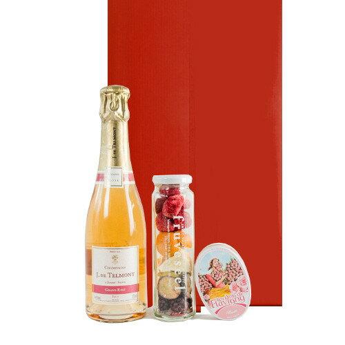 あす楽 誕生日プレゼント フランスの高級ロゼシャンパン 辛口 ハーフボトル フリーズドライ 果物 無添加 砂糖不使用 バラのローズキャンディー