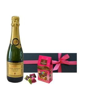 【ワインとスイーツのギフト】 スパークリングワイン フランス やや甘口 375ml ハーフボトル チョコレート ジャイアンス キュヴェ・インペリアル・トラディション アーモンドチョコ モンバナ 贈り物 プレゼント お祝い お礼 お返し 内祝い あす楽 メッセージカードギフト包装