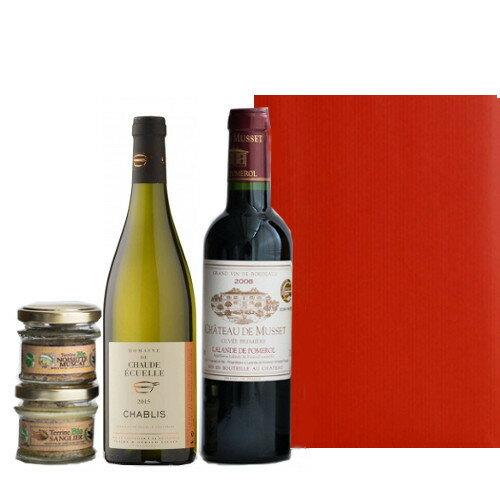 グルメギフト ワインとおつまみセット 赤白 ワインセット ボルドー シャブリ 375ml 2本 コルシカ島のオーガニックパテ フランス イノシシのテリーヌ オリーブとハーブ風味の豚肉のテリーヌ 45g×2個 包装つき 箱入り