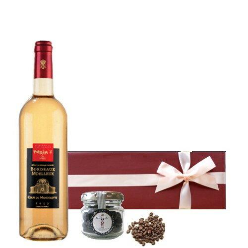【送料無料】ワインとスイーツ フランスの高級ブランド マキシム・ド・パリ ボルドー白ワイン やや甘口 ハーフボトル 375ml 貴腐ワイン漬けレーズンチョコレート ソーテルヌ フランス ギフト箱入り