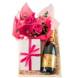 誕生日 記念日 花 焼菓子 【ワインとお花、スイーツのギフト】 スパークリングワイン フランス ハーフボトル 375ml やや甘口 ジャイアンス 「キュヴェ・インペリアル」 生花 フラワーアレン