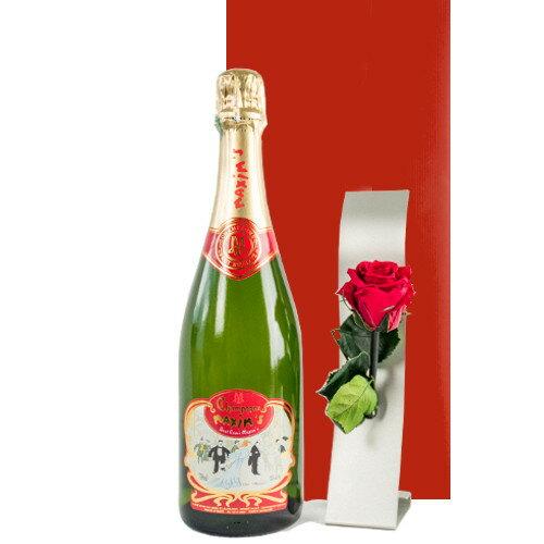 母の日 お花 ワイン セット プレゼント フランス マキシム・ド・パリ 高級シャンパン バラのプリザーブドフラワー 一輪挿しつき