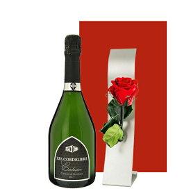 誕生日 プレゼント 花 おしゃれ 送料無料 【ワインとお花のギフト】スパークリングワイン フランス 辛口 750ml プリザーブドフラワー 「レ・コードリエ・エクスクルーシヴ・ブリュット」クレマン・ド・ボルドー 赤 バラ スタンド付 お返し あす楽 女性 男性 クリスマス