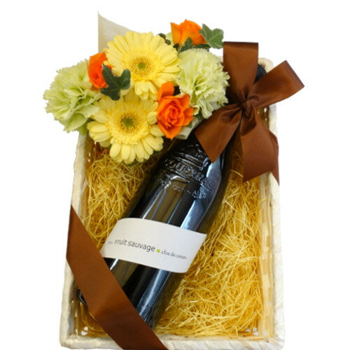 2018 父の日ギフト フランス 自然派オーガニック赤ワイン 生花アレンジメント バラ カーネーション バスケット 父 誕生日 お祝い プレゼント 贈り物