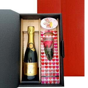 母の日 花 スイーツギフト 【ワインとお花、スイーツのギフト】スパークリングワイン フランス ローヌ やや甘口 375ml ハーフボトル プリザーブドフラワー ピンク バラ ローズキャンディ ジ