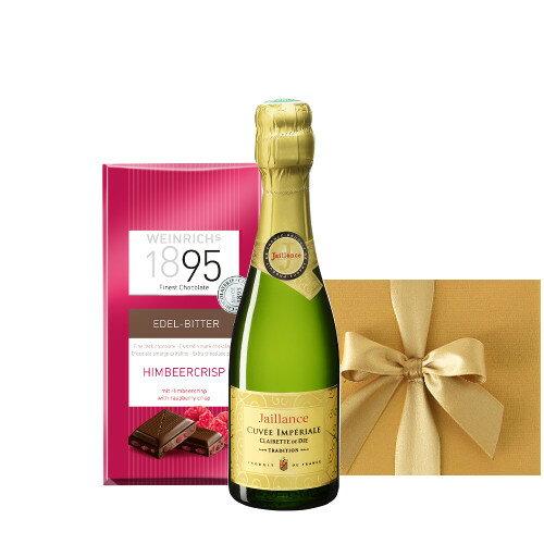 ワインとスイーツ フランスのスパークリングワイン ベビーボトルサイズ ラズベリー風味のチョコレート ギフト箱入り 誕生日プレゼント ミニギフト