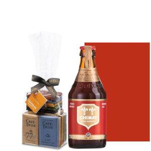 ホワイトデー プレゼント ベルギーチョコ ベルギービール 【ビールとスイーツのギフト】 トラピストビール 「シメイ・レッド」 330ml チョコレート 20枚 8種 アソート CAFE TASSE ラッピング付
