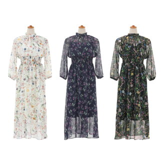 ★ All sallow chiffon print dress FEERICHELU two colors